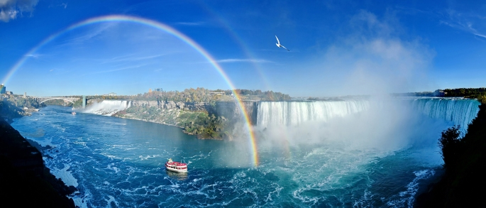 Niagara Falls panoram with rainbow